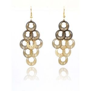 Silver long round cutout earrings